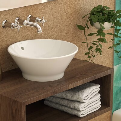 Celena Classically Redefined Ceramic Circular Vessel Bathroom Sink with Overflow