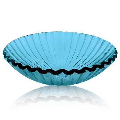 Translucence Clam Shell Glass Circular Vessel Bathroom Sink Color: Blue