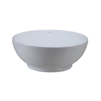 Aila Classically Redefined Ceramic Circular Vessel Bathroom Sink with Overflow