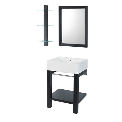24 Single Wall Mounted Bathroom Vanity Set with Mirror Base Finish: Black Ash