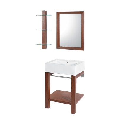 24 Single Wall Mounted Bathroom Vanity Set with Mirror Base Finish: Cognac