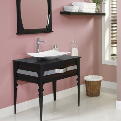 Natasha 37 Single Bathroom Vanity Set Base Finish: Ebony / Black Gloss