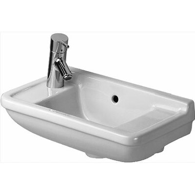 Starck 3 Ceramic 20 Wall Mount Bathroom Sink with Overflow Faucet Mount: Left