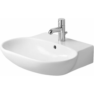 Foster Ceramic 28 Wall Mount Bathroom Sink with Overflow Faucet Drillings: Three Hole