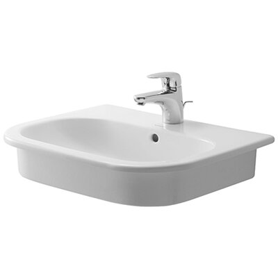 D-Code Ceramic U-Shaped Drop-In Bathroom Sink with Overflow Faucet Mount: Single Hole