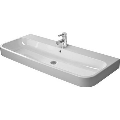 Happy D.2 Console Porcelain Rectangular Bathroom Sink with Overflow