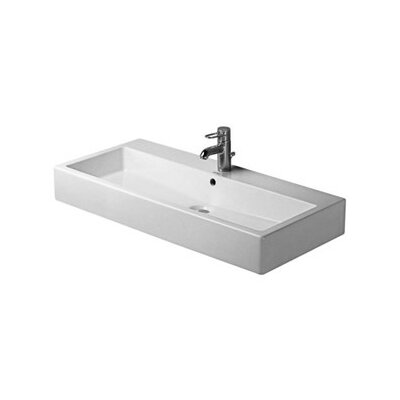 Vero Ceramic 40 Wall Mount Bathroom Sink with Overflow Faucet Drillings: Three Hole