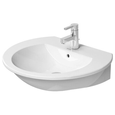 Darling New Ceramic 26 Wall Mount Bathroom Sink with Overflow Faucet Drillings: Three hole