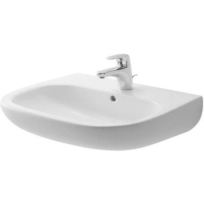 D-Code Ceramic 22 Wall Mount Bathroom Sink with Overflow Faucet Drillings: Three Hole