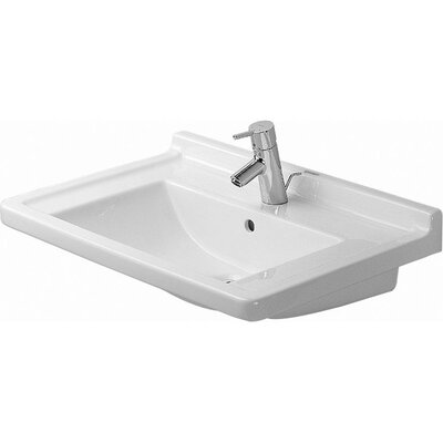 Starck 3 Ceramic 28 Wall Mount Bathroom Sink with Overflow Faucet Drillings: Three Hole