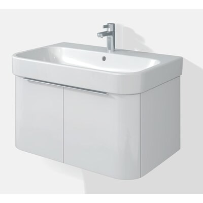 Happy D 18.75 Single Wall Mounted Vanity Set Base Finish: White HG