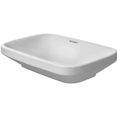 DuraStyle Ceramic Rectangular Vessel Bathroom Sink with Overflow