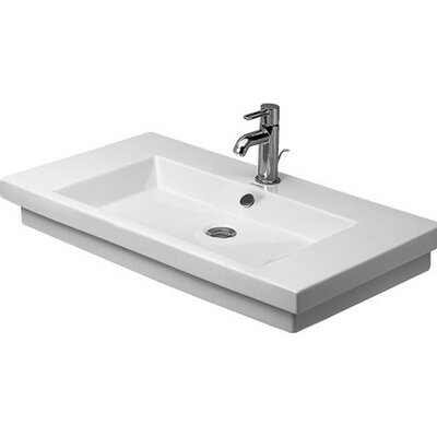 2nd Floor Ceramic 32 Wall Mount Bathroom Sink with Overflow