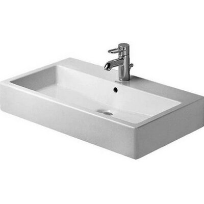 Vero Ceramic 19 Wall Mount Bathroom Sink with Overflow
