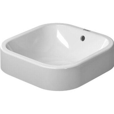 Happy D. Ceramic Square Vessel Bathroom Sink with Overflow