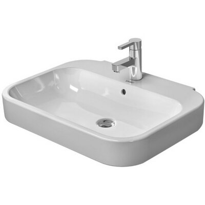 Happy D. Ceramic Rectangular Pedestal Bathroom Sink with Overflow