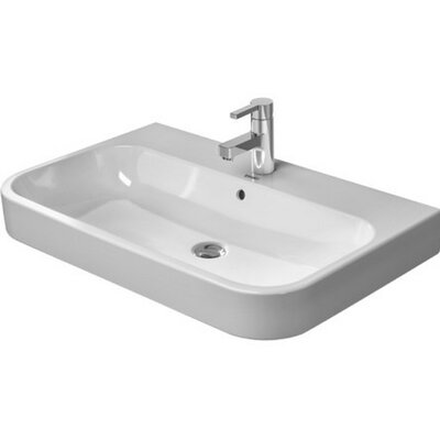 Happy D. Ceramic 32 Wall Mount Bathroom Sink with Overflow