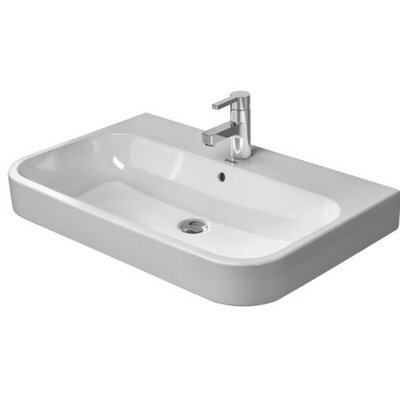 Happy D. Ceramic 26 Wall Mount Bathroom Sink with Overflow