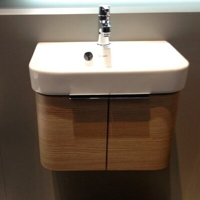 Happy D 18.75 Single Wall Mounted Vanity Set Base Finish: Ame Walnut