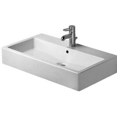 Vero Ceramic 28 Wall Mount Bathroom Sink with Overflow