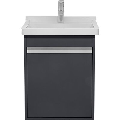 Wall Mount 17 Single Bathroom Vanity Base Finish: Graphite Matte