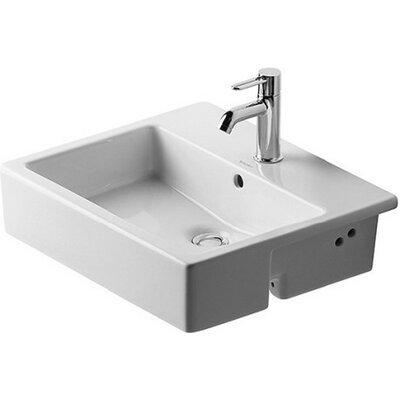 Vero Ceramic 22 Wall Mount Bathroom Sink with Overflow Faucet Drillings: Three Hole