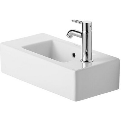 Vero Ceramic Rectangular Vessel Bathroom Sink with Faucet and Overflow Orientation: Left