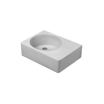 Scola Ceramic Rectangular Vessel Bathroom Sink with Overflow Bowl: Left Side