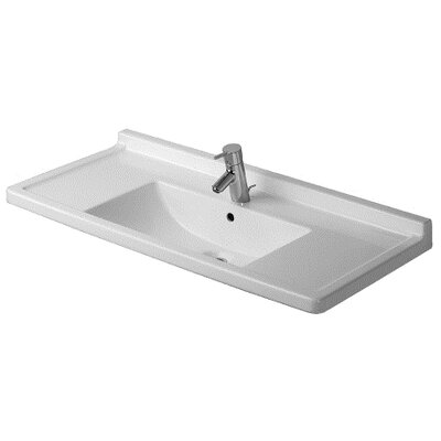 Starck 3 Ceramic 42 Wall Mount Bathroom Sink with Overflow