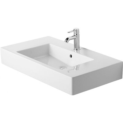 Vero Ceramic 34 Wall Mount Bathroom Sink with Overflow Faucet Drillings: Single Hole