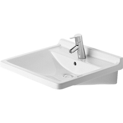 Starck 3 Ceramic 24 Wall Mount Bathroom Sink with Overflow Faucet Drillings: Three Hole