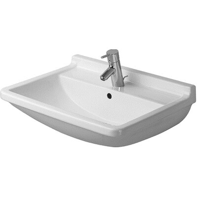 Starck 3 Ceramic 24 Wall Mount Bathroom Sink with Overflow Faucet Drillings: Single Hole