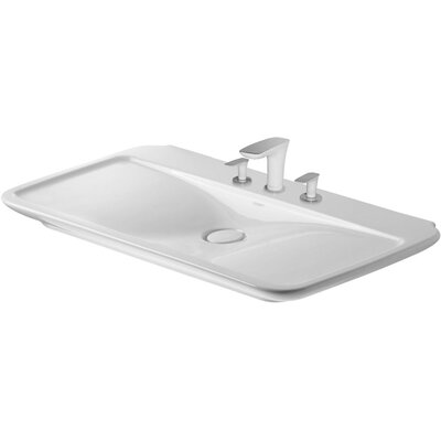 PuraVida Furniture 39 Wall Mount Bathroom Sink with Overflow Faucet Drillings: Three Hole