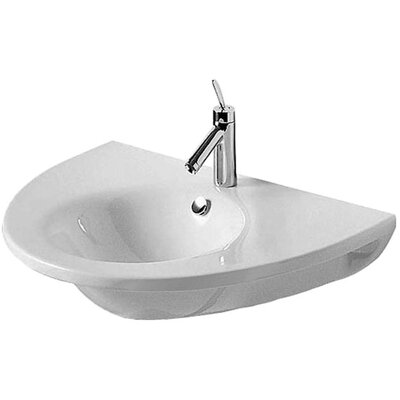 Starck 1 Ceramic 30 Wall Mount Bathroom Sink with Overflow Faucet Drillings: Three Hole