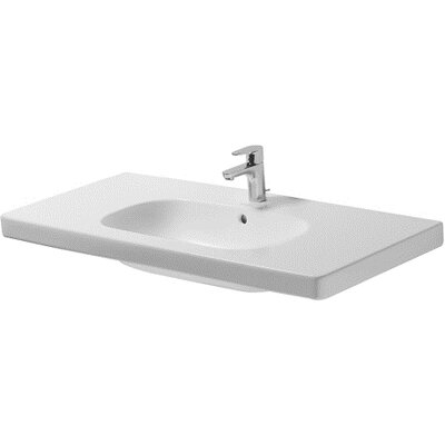 D-Code Ceramic 42 Wall Mount Bathroom Sink with Overflow Faucet Drillings: Three Hole