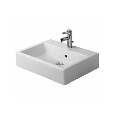 Vero Above Counter Rectangular Vessel Bathroom Sink with Overflow Faucet Drillings: Single Hole
