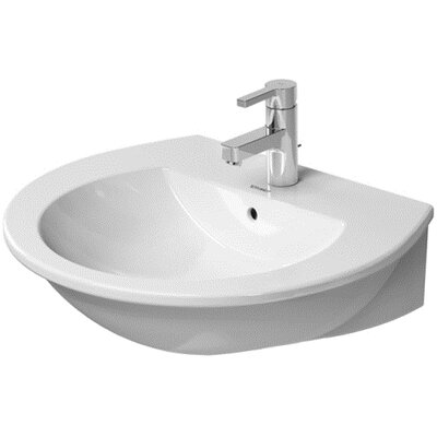 Darling New Ceramic 24 Wall Mount Bathroom Sink with Overflow Faucet Drillings: Three hole