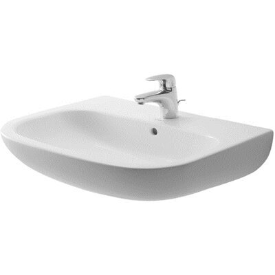 D-Code 26 Wall Mount Bathroom Sink with Overflow Faucet Drillings: Single Hole