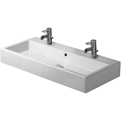 Vero 40 Wall Mount Bathroom Sink with Overflow Faucet Drillings: Two Hole