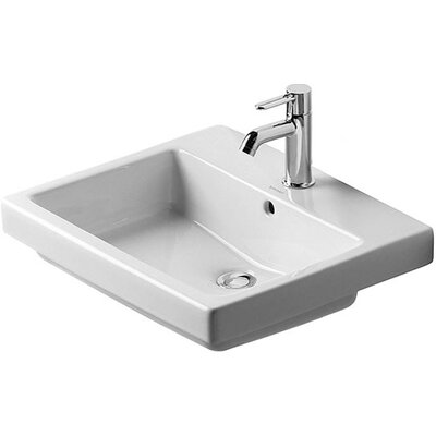 Vero Ceramic Rectangular Drop-In Bathroom Sink with Overflow Faucet Drillings: Three Hole