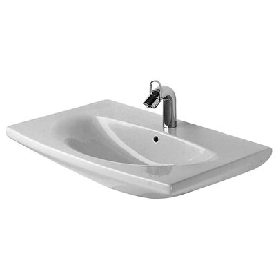 Caro Ceramic 28 Wall Mount Bathroom Sink with Overflow Faucet Drillings: Three Hole