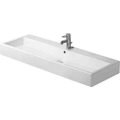 Vero Ceramic 48 Wall Mount Bathroom Sink with Overflow Faucet Drillings: Two Hole