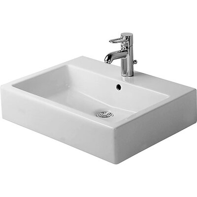 Vero Ceramic Rectangular Vessel Bathroom Sink with Overflow Faucet Drillings: Single Hole