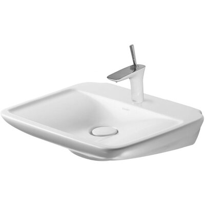 PuraVida Ceramic 24 Wall Mount Bathroom Sink Faucet Drillings: Three hole