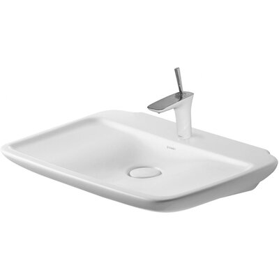 PuraVida 28 Wall Mount Bathroom Sink with Overflow Faucet Drillings: Three hole