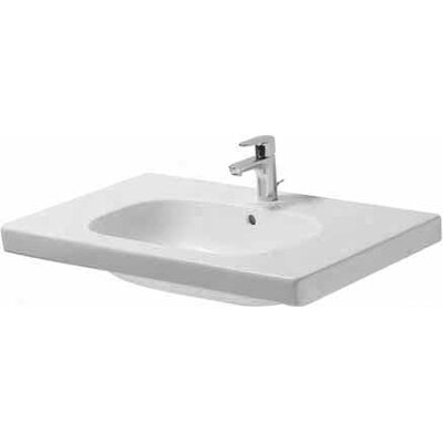 D-Code Ceramic 34 Wall Mount Bathroom Sink with Overflow