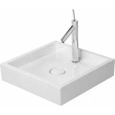 Starck 1 Ceramic Square Vessel Bathroom Sink Faucet Drillings: No Hole