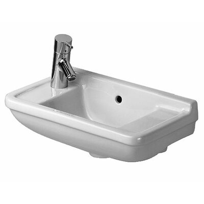 Starck 3 Ceramic 20 Wall Mount Bathroom Sink with Overflow Faucet Mount: Right