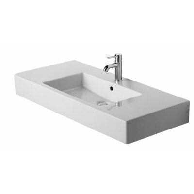 Vero Ceramic Rectangular Vessel Bathroom Sink with Overflow Faucet Drillings: No Hole