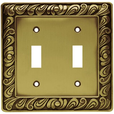 Paisley Double Switch Wall Plate Finish: Tumbled Antique Brass